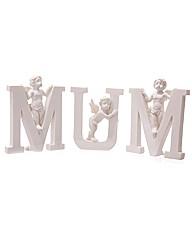 White MUM Cherub Letters Set