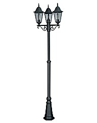 Ancona Black 3 Light Lamp Post