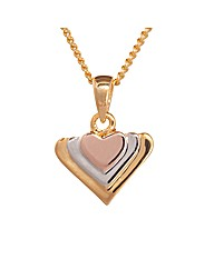 Espree Three Tone Mini Heart Pendant