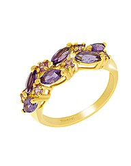9ct Gold Amethyst and Pink Sapphire Ring
