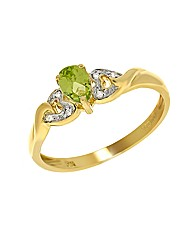9ct Gold Peridot and Diamond Ring