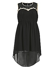Koko Pleat Front Lace Trim Dip Hem Dress