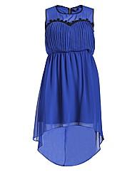 Koko Pleat Front Lace Trim Dip Hem Dress
