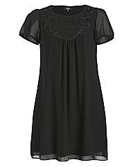Koko Flower Trim Short Sleeve Dress