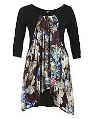 Samya 3/4 Sleeve Front Panel Floral Dres