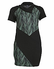 Samya Short Sleeve Leaf Panel Print Dres