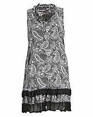 Samya Sleeveless Button Up Printed Dress