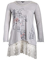 Samya Long Sleeve Lace Hem Top