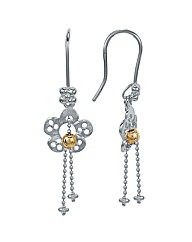 Rhodium Plated Silver Flower Earrings