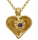 Gold Plated Matt Silver Heart Pendant