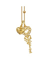 Gold Plated Silver Key & Heart Pendant