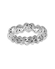 Rhodium Plated Silver Heart Shaped Ring