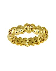 Gold Plated Silver Heart Shaped Ring