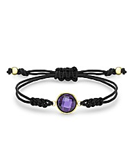 9ct Gold Purple CZ Brown Cord Bracelet
