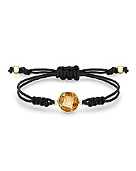 9ct Gold Orange CZ Brown Cord Bracelet