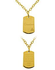 Gold Plated Grandson Tag Pendant