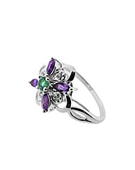 9ct White Gold Flower Ring