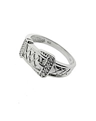 Silver and Diamond Gents Buckle Ring