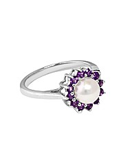 Silver Amethyst and Pearl Ring