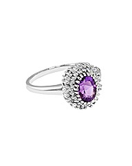 Silver Amethyst and Diamond Ring