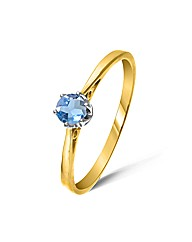 Yellow Gold 0.3 Carat Blue Topaz Ring