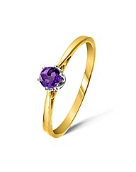 9ct Yellow Gold 0.2 Carat Amethyst Ring