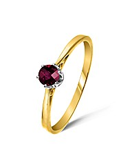 Yellow Gold 0.3Ct Rhodolite Garnet Ring