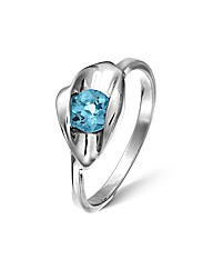 Sterling Silver 0.5 Ct Blue Topaz Ring