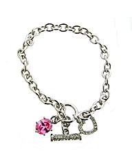 Pink and White Crystal T-Bar Bracelet
