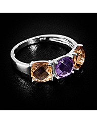 Silver Amethyst and Citrine Ring