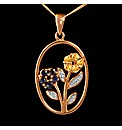 Gold Plated Silver Oval Flower Pendant