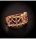 Gold Plated Silver Multi Stone Ring
