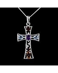Silver Multi Stone Cross Pendant
