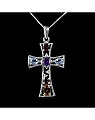 Silver Multi Stone Cross Pendant
