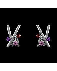 Silver Amethyst and Tourmaline Earrings