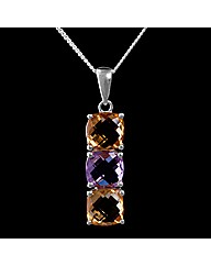 Silver Amethyst and Citrine Pendant