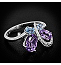 Silver Stone Set Butterfly Ring