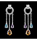 Silver Topaz and Amethyst Drop Earrings