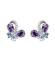 Silver Amethyst Butterfly Earrings