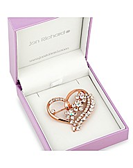 Jon Richard Crystal Heart Brooch