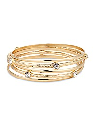 Mood Textured Crystal Bangle Set