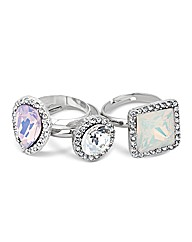 Mood Jewelled Adjustable Ring Pack