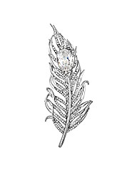 Mood Crystal Feather Brooch