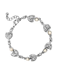 Jon Richard Crystal Leaf Pearl Bracelet
