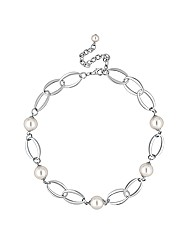 Jon Richard Pearl Oval Link Necklace