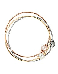 Jon Richard Tri Tone Pearl Bangle Set