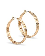 Jon Richard Textured Gold Hoop Earring