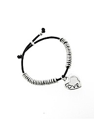 Black Cord Love Heart Bracelet
