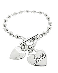 Love Message Heart Charm Bracelet
