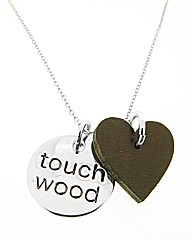 Rhodium Touch Wood Heart Pendant